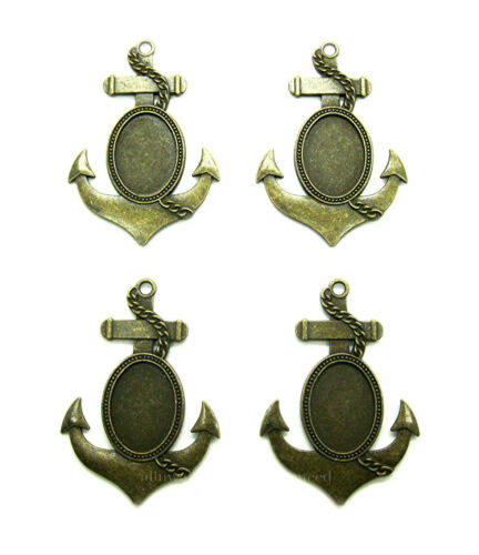 4 Ant. Brass or Bronze NAUTICAL ANCHOR Style 25mm x 18mm CAMEO PENDANT Settings