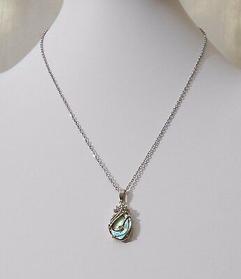 Abalone Shell And Rhinestone Pendant On 18 Inch Stainless Steel Chain