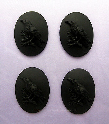4 BLACK BIRD GOTH CROW RAVEN on BLACK 40mm x 30mm Costume Jewelry CAMEOS EMO