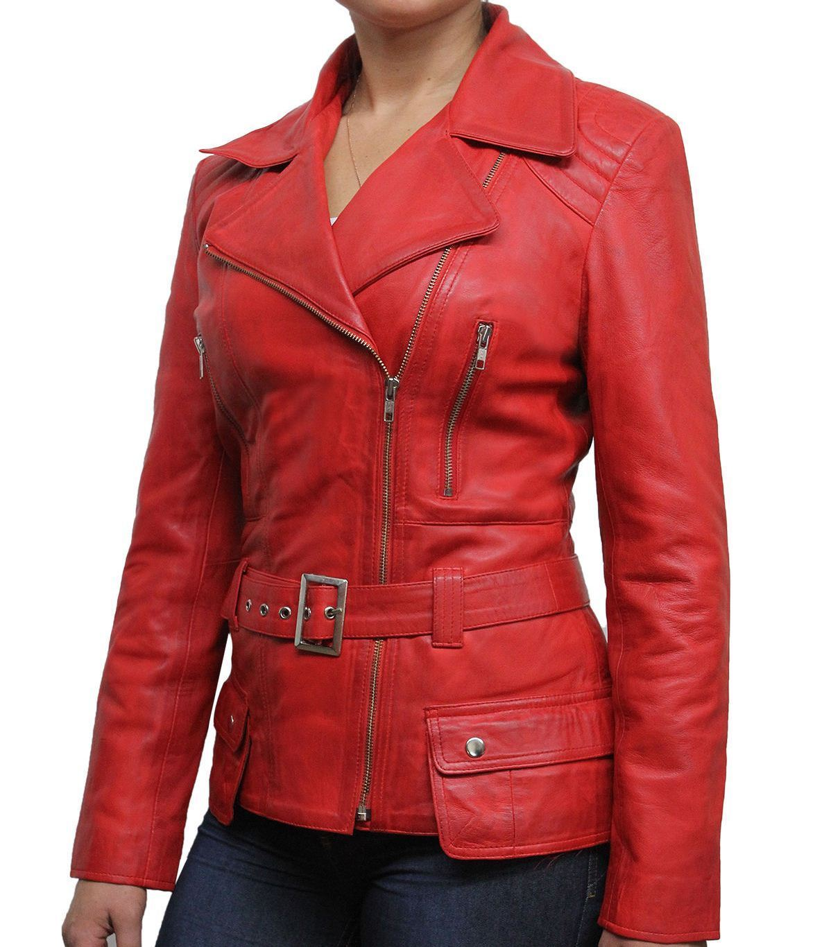 RIDER Ladies Green WASHED Biker Style Soft REAL Lambskin Leather Jacket