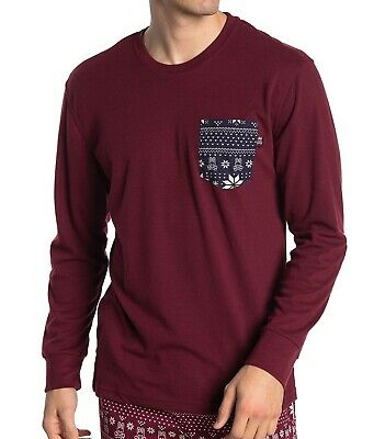 Psycho Bunny Men's Long Sleeve Summit Fair Isle Patches Lounge Crew T-Shirt (Summit Fair)