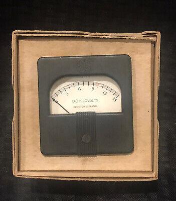 Vintage Nos Ge General Electric Panel Meter Dc Kilovolts Gauge Wbox