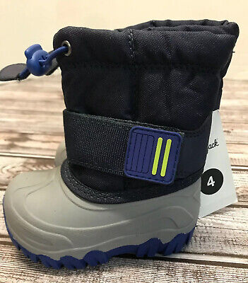 Toddler Boys Cat & Jack Blue Gray Winter Snow Boots Size 4 NWT -