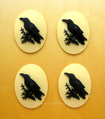 4 BLACK BIRD GOTH CROW RAVEN on IVORY Color 40mm x 30mm Costume Jewelry CAMEOS