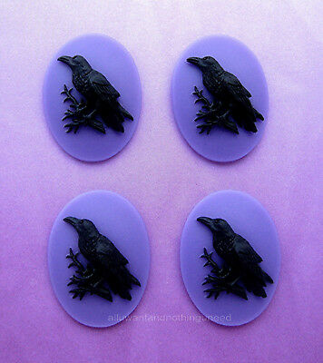 4 BLACK BIRD GOTH CROW RAVEN on PURPLE Color 40mm x 30mm Costume Jewelry CAMEOS