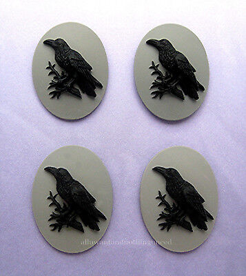 4 BLACK BIRD GOTH CROW RAVEN on Gray Grey 40mm x 30mm Costume Jewelry CAMEOS EMO