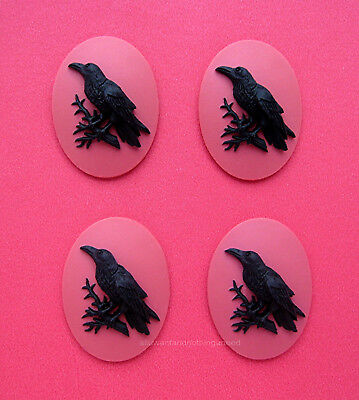 4 BLACK BIRD Goth CROW RAVEN on SUNSET PINK 40mm x 30mm Costume Jewelry CAMEOS