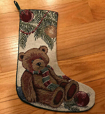 Vtg 90s Needlepoint Christmas Teddy Bear Stocking Riverdale Decorative Products