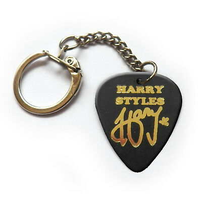 Harry Styles Gold printed signature guitar pick plectrum keychain keyring
