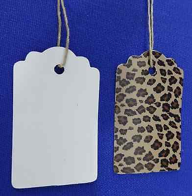 500 Leopard Designer Print Scalloped Merchandise Strung Price Tags Small
