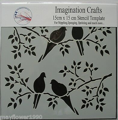 "Imagination Crafts MASK Stencil template 6"" x 6"" (15cm ) BIRDS ON BRANCHES"