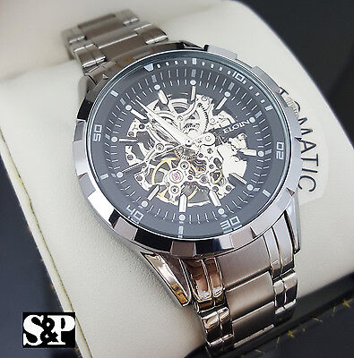 Mens Elgin Luxury Auto Chronograph Skeleton Stainless Steel Dress Watch FG8030S Mens Classic Dress Watch