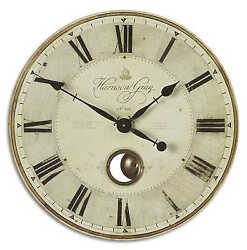 Gray Gallery Wall Clock Pendulum Brass Edge 23D French Country Large Round New