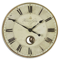 Large Gray Pendulum Wall Clock Roman Numerals 23 | Brass Exposed Traditional