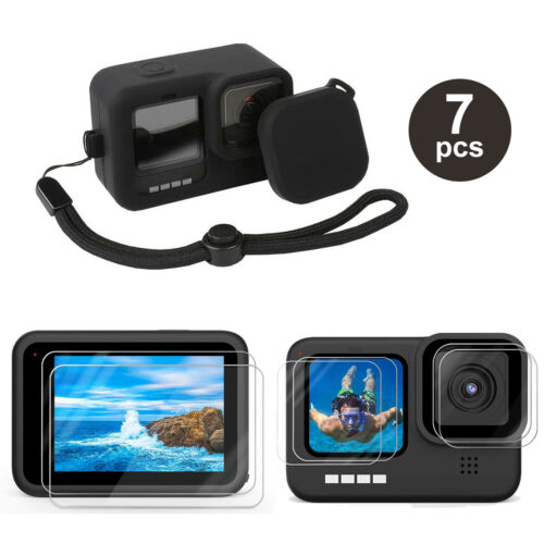 Accessories Kit for GoPro Hero 9 Black Silicone Protective Case+Screen Lens Film
