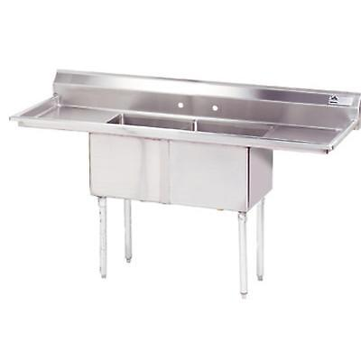 Advance Tabco 2 Compartment Sink 18 Gauge 18x18 Bowl Two 18 Drainboards