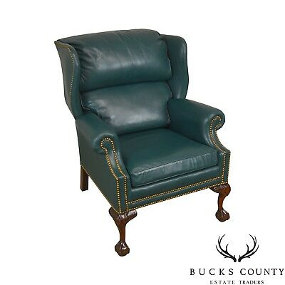 Leather Wing Chair - Hancock & Moore Chippendale Style Ball & Claw Mahogany Green Leather Wing Chair