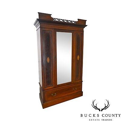 Edwardian Period Antique English Mahogany Inlaid Mirror Door Armoire Wardrobe
