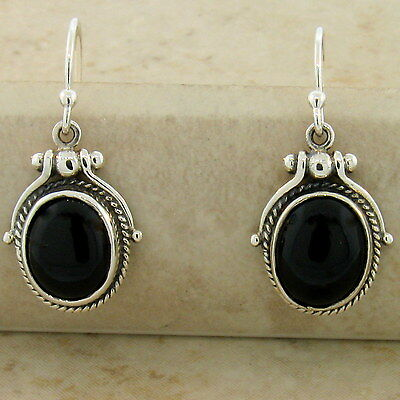 GENUINE BLACK AGATE ANTIQUE VICTORIAN STYLE 925 STERLING SILVER EARRINGS,   #887