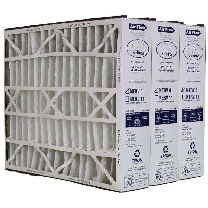 """Trion Air Bear 255649-102 (3 Pack) Pleated Furnace Air Filter 20""""x25""""x5"""" MERV 8"""