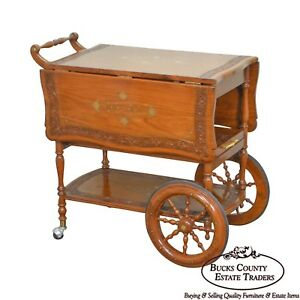 India Teak Wood Brass Marquetry Inlaid Serving Tea Cart