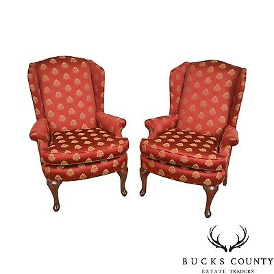 Queen Anne Style Red & Gold Pineapple Upholstered Pair of Wing Chairs Antique Queen Anne Chairs