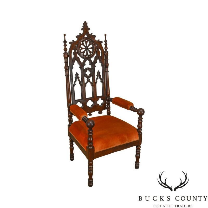 Gothic Antique Carved Walnut Throne Arm Chair