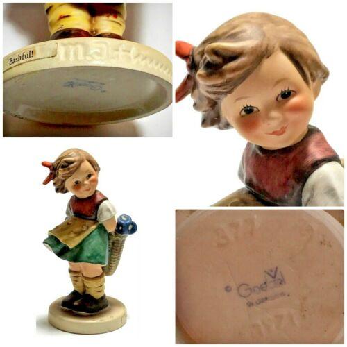 HUMMEL Goebel Porcelain Figurine BASHFUL Girl *TMK-5 SIGNED DATED* 377 #2