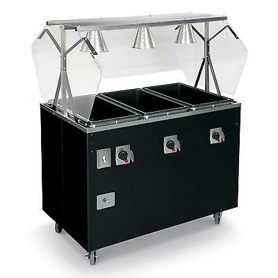 Vollrath T3877060 4 Well Mobile Hot Food Steam Table Cherry With Lights