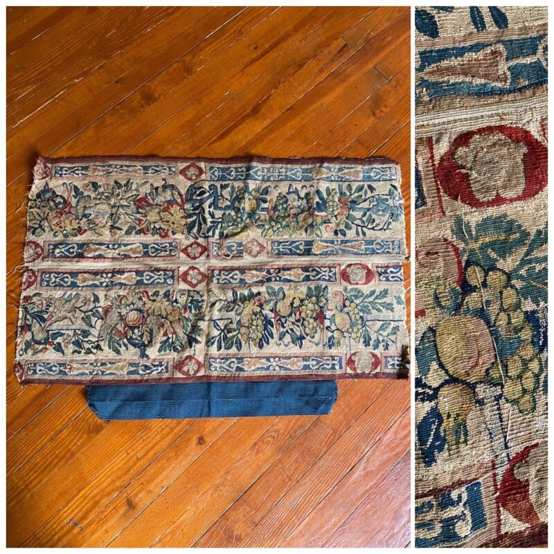 """Antique 18th Century Tapestry Fragment With Fruit Imagery Textile 26 x 36"""""""