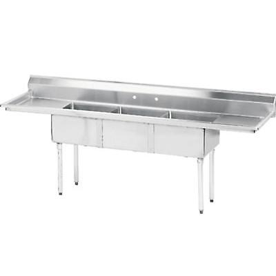 Advance Tabco 3 Compartment Sink 18x18x12 Bowl Two 18 Drainboards