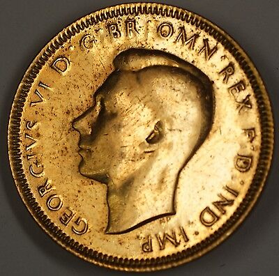 Details about 1938 Half Penny Great Britain Broach Pin Gold Colored
