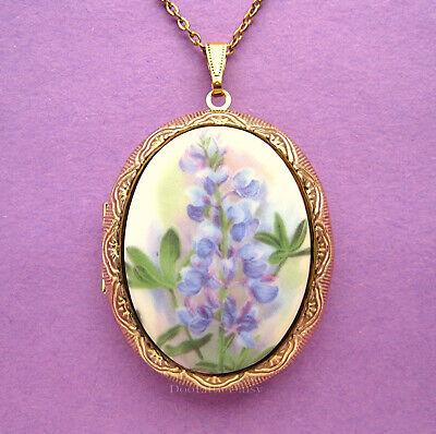 Porcelain BLUEBONNET Texas State Flower floral CAMEO GT Locket Pendant Necklace