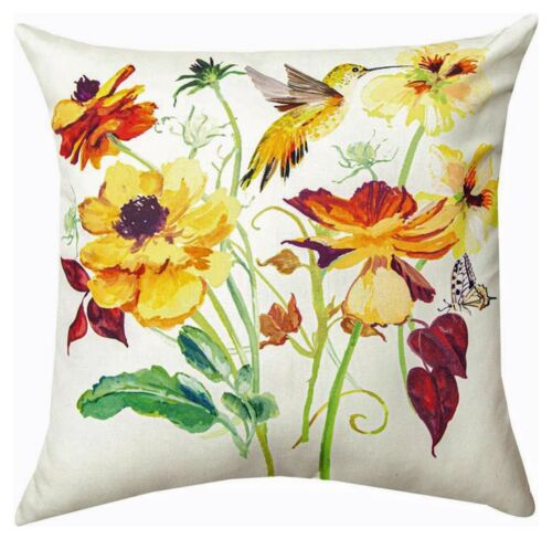 "PILLOWS  - ""BUTTERFLY GARDEN"" INDOOR OUTDOOR PILLOW - 18"" SQUARE"