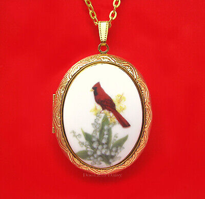 CARDINALS Porcelain CARDINAL & LILY of the VALLEY CAMEO Locket Necklace for Gift