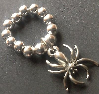 silver ball stretch ring with Spooky Spider Gothic Creepy (Halloween Spider Ring)