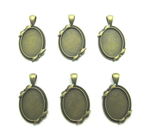 6 Ant. Brass MARILYN Style w/ Bows 25mm x 18mm CAMEO PENDANT & Earrings Settings