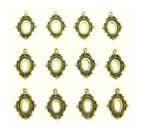 12 Antiqued Goldtone ENCHANTED 18mm x 13mm CAMEO PENDANT or Earrings Settings