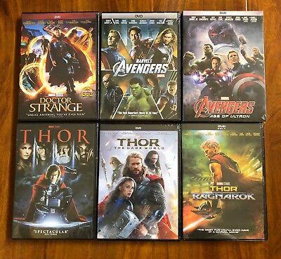 Thor Trilogy  Avengers  And Dr  Strange 6 Dvd Bundle Pack All Brand New