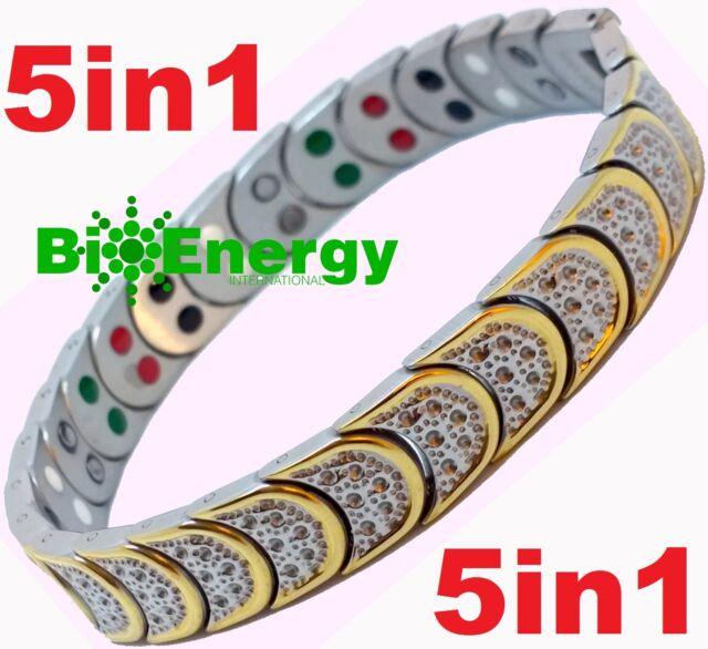 Jade Magnetic Energy Germanium Power Bracelet Health STAINLESS 5in1 Armband BIO