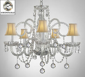 Crystal Chandelier With White Shades And Crystal Balls