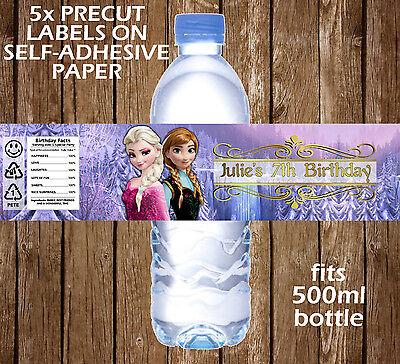 Frozen Water Bottle Labels (5x PERSONALISED FROZEN WATER BOTTLE LABELS BIRTHDAY CHILDREN PARTY FAVOURS)