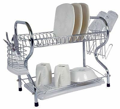Better Chef 2 Tier Dish Rack 16 Inch Chrome Plated R Shaped Rust Resistant