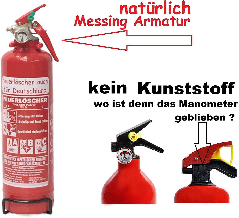 1 kg Autofeuerlöscher Pulverlöscher Manometer Halterung ABC Feuerlöscher