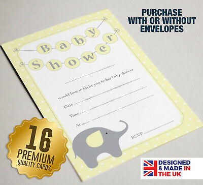 Elephant Themed Baby Shower Invitations (16 YELLOW Baby Shower Invitations - A6 Size Guest Cards - Elephant Theme)