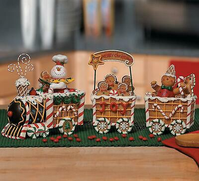 """Gingerbread Christmas Joy Train Tabletop Figurine with 3 Cars 12""""L, Overall 5""""H"""