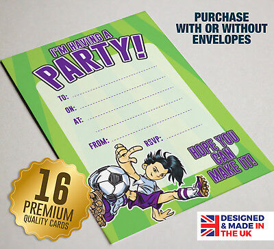 Girls Football Theme Party Invitation - 16 A6 Cards - Ideal for Kids Birthday - Themes For A Girl Birthday Party