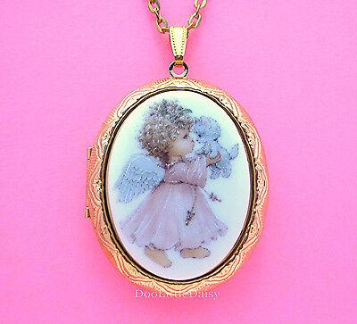Christian Religious Porcelain ANGEL & KITTEN CAT CAMEO Locket Necklace for Gift