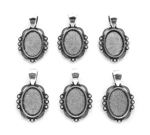 6 Antiqued Silvertone ADINA Style 18mm x 13mm CAMEO PENDANT or Earrings Settings