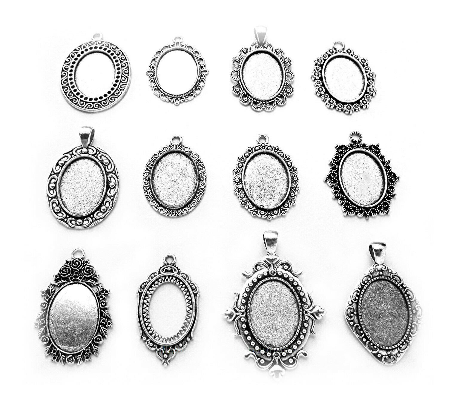 12 Assorted Ant. Silvertone 25mm X 18mm CAMEO Craft PENDANTS Frame Settings Lot - $6.49